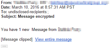 Example phishing message designed to steal your password.